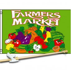 FARMERS MARKET GREEN 3' x 5'  Flag, Pole And Mount.