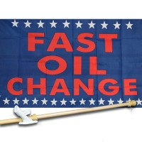 FAST OIL 3' x 5'  Flag, Pole And Mount.