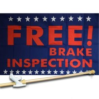 FREE BRAKE INSPECTION 3' x 5'  Flag, Pole And Mount.