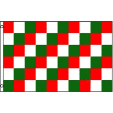 Green White and Red Checkered 3' x 5' Polyester Flag