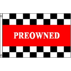 PREOWNED RED W/CHECKERED TOP & BOT POLY 3' X 5' FLAG