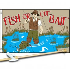 FISH OR CUT BAIT 3' x 5'  Flag, Pole And Mount.