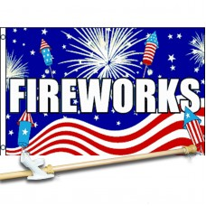 FIREWORKS PATRIOTIC 3' x 5'  Flag, Pole And Mount.