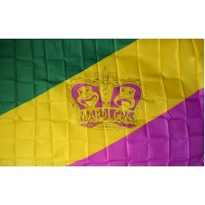 MARDI GRAS CROWN DIAGONAL STRIPES POLY 3' X 5' FLAG