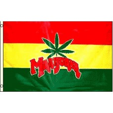 Marijuana Leaf Rasta Background 3' x 5' Polyester Flag