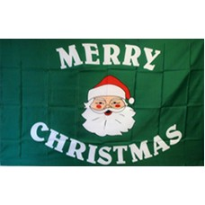 MERRY CHRISTMAS SANTA GREEN POLY 3' X 5' FLAG