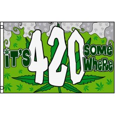 ITS 420 SOME WHERE MARIJUANA LEAF POLY 3' X 5' FLAG