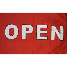 Open Red White Block Letters 3' x 5' Polyester Flag