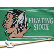 FIGHTING SIOUX 3' x 5'  Flag, Pole And Mount.