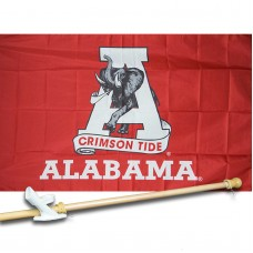 ALABAMA CRIMSON TIDE 3' x 5'  Flag, Pole And Mount.