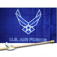AIR  FORCE WINGS 3' x 5'  Flag, Pole And Mount.