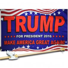 TRUMP 3' x 5'  Flag, Pole And Mount.