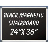 """24""""x 36"""" Aluminum Framed Magnetic Black Chalkboard"""
