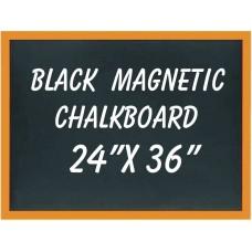 """24"""" x 36"""" Wood Framed Black Magnetic Chalkboard"""