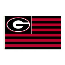 Georgia Bulldogs Striped USA Style 3'x 5' Flag