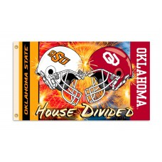 Oklahoma Sooners-Oklahoma State House Divided 3'x 5' Flag