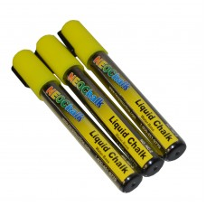 "1/4"" Chisel Tip Neon Liquid Chalk Marker - Yellow 3 Pack"