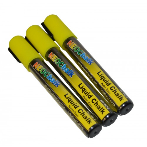 14 chisel tip neon liquid chalk marker 3 pack yellow