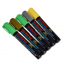 "1/4"" Shamrock Chisel Tip Waterproof Marker Pens - Full 5 Pc Set"