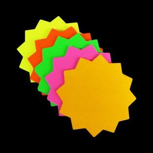 """3""""x 3"""" Round Neon Star Card 50pk"""