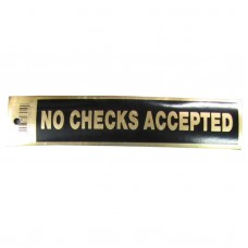 Gold No Checks Accepted Policy Business Sticker