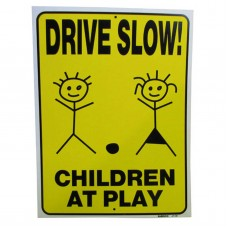 Slow-Children At Play Policy Business Sign