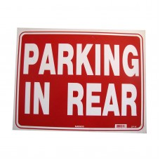 Parking In Rear Policy Business Sign