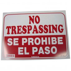 No Trespassing (English/Spanish) Policy Business Sign