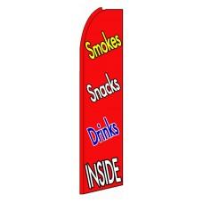 Smokes Snacks Drinks Inside Extra Wide Swooper Flag