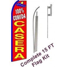 100% Comida Casera (Home Food) Extra Wide Swooper Flag Bundle