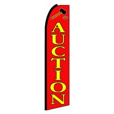 Auction Red Extra Wide Swooper Flag