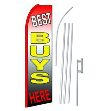 Best Buys Here Extra Wide Swooper Flag Bundle