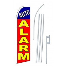 Auto Alarm Red & Yellow Blue Extra Wide Swooper Flag Bundle