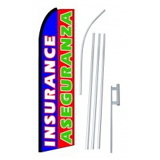 Bilingual Blue/Red Insurance Aseguranza Flag Bundle