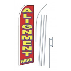 Alignment Here Red Extra Wide Swooper Flag Bundle