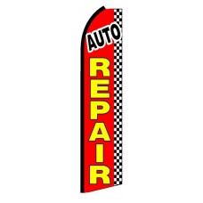 Auto Repair Checkered Extra Wide Swooper Flag