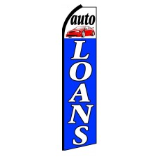 Auto Loans White Blue Extra Wide Swooper Flag