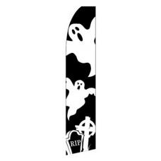 Halloween Ghost & Grave Black/White Swooper Flag