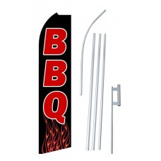 BBQ Black Flames Extra Wide Swooper Flag Bundle