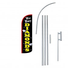 We Buy Diamonds Extra Wide Windless Swooper Flag Bundle