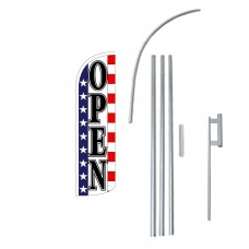 Open Stars & Stripes Extra Wide Windless Swooper Flag Bundle