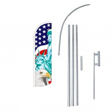 Lady Liberty/USA/American Eagle Extra Wide Windless Swooper Flag Kit