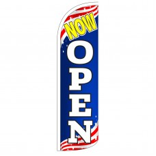 Now Open Patriotic Extra Wide Windless Swooper Flag