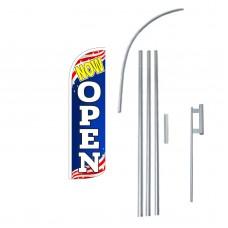Now Open Patriotic Extra Wide Windless Swooper Flag Bundle