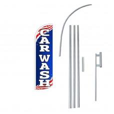 Car Wash USA Extra Wide Windless Swooper Flag Bundle