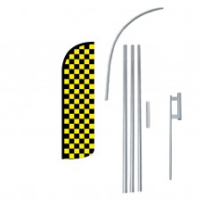 Black & Yellow Checkered Extra Wide Windless Swooper Flag Bundle