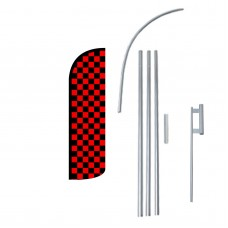 Black & Red Checkered Extra Wide Windless Swooper Flag Bundle