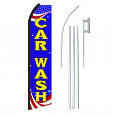 Car Wash Red, White & Blue Swooper Flag Bundle