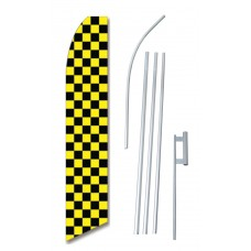 Checkered Black/Yellow Swooper Flag Bundle