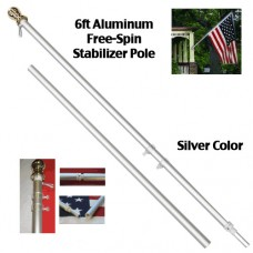 6' Silver Spin Free Flag Pole